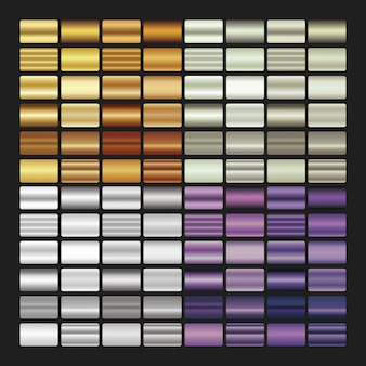 Set gradiënttexturen op zwarte achtergrond