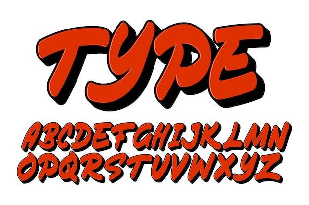 Set graffiti-lettertype met eenvoudige omtrek voor jeugdcultuur en afdrukken