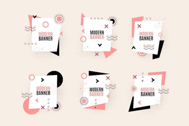 Set grafisch ontwerp etiketten in geometrische stijl