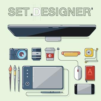 Set grafisch ontwerperartikelen, gereedschappen en apparatuur