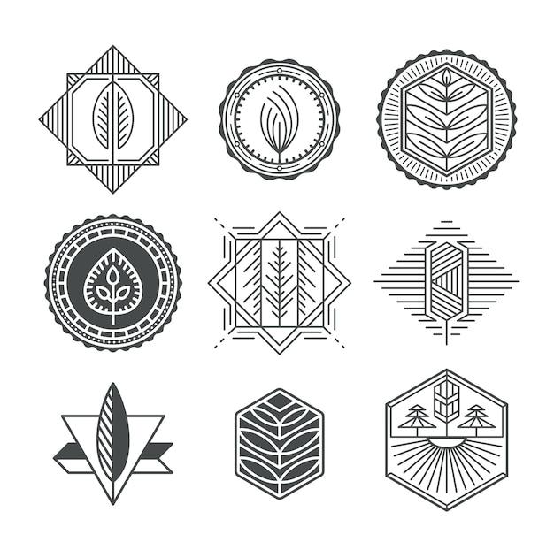 Set grafische natuurlijke labels, monolijn en monochromatisch ontwerpcollectie van ecotekens