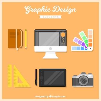 Set grafische ontwerpelementen in vlakke stijl