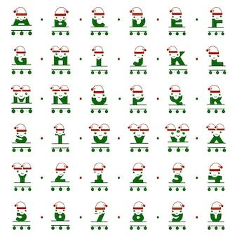 Set grappige kerstkarakters in de vorm van gepersonaliseerde monogrammen van letters en cijfers