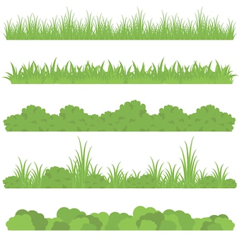 Set grass borders set, vector illustratie