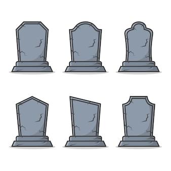 Set graveyard tombstone geïsoleerd op wit