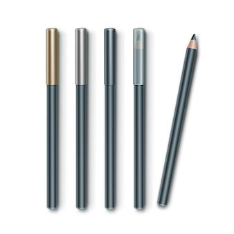 Set grijsblauwe cosmetische make-up eyelinerpotloden