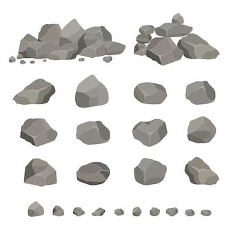Set grijze granieten stenen in verschillende vormen. element van de natuur, bergen, rotsen, grotten.