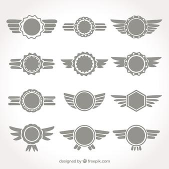 Set grijze vleugels insignes
