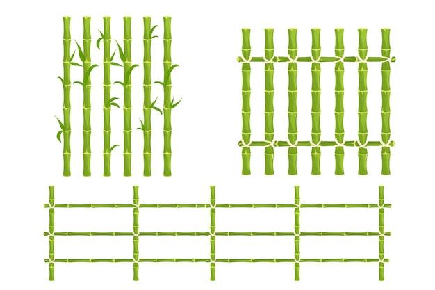 Set groene bamboe omheining met touw piket van stokken natuur muur in cartoon-stijl