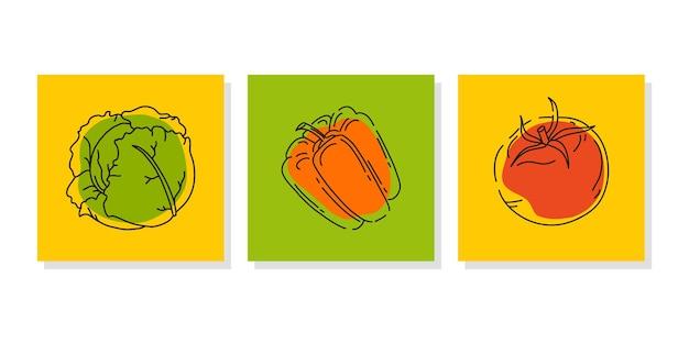 Set groentebanners of posters voor een boerenmarkt of voedselbeurs heldere abstracte pictogrammen