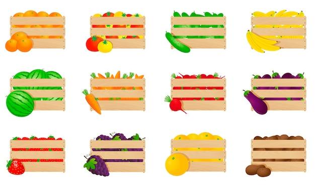 Set groenten en fruit in houten kisten
