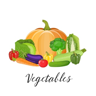 Set groenten met pompoen, broccoli, tomaat, paprika, kool, courgette, aubergine, wortel, komkommer