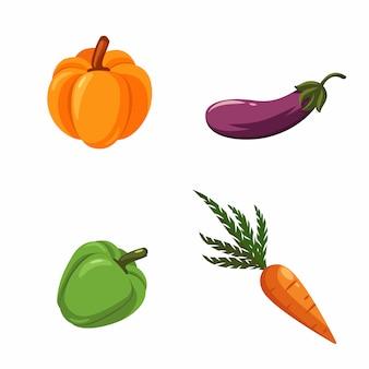 Set groenten: pompoen, aubergine, groene peper, wortelen.