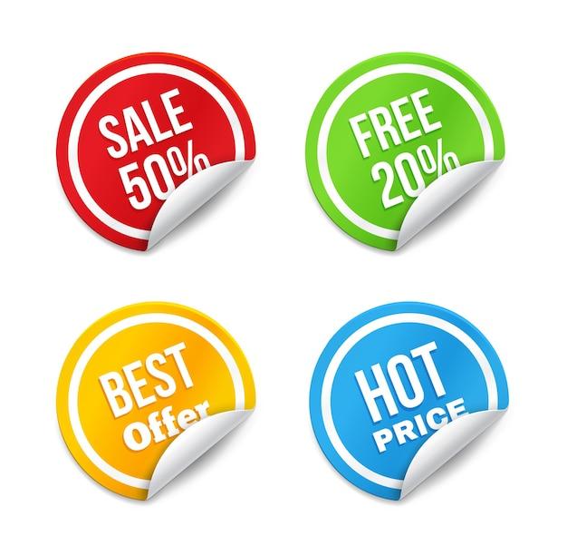 Set grote verkoop tags met gekrulde rand. hete prijs, beste aanbieding, gratis en korting.