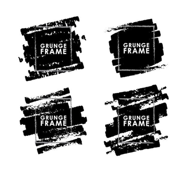 Set grunge penseelstreken frames op witte achtergrond