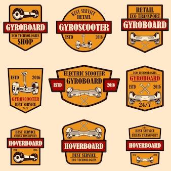 Set gyro scooter emblemen. ontwerpelementen voor logo, label, teken, poster, kaart. vector illustratie