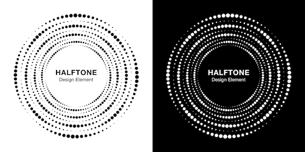 Set halftone circulaire gestippelde frame. cirkel stippen achtergrond.