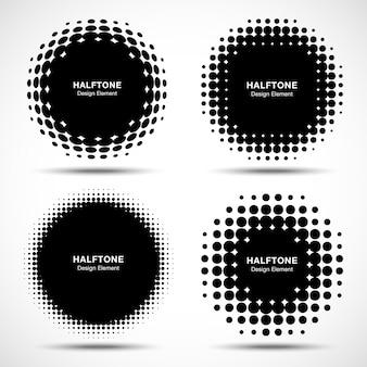 Set halftone cirkelframes. vector Premium Vector