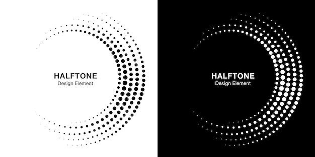 Set halftone onvolledige cirkelframe
