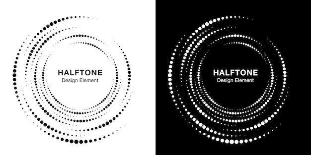 Set halftone vortex cirkelframe stippen. circulaire werveling ontwerpelement. onvolledige ronde rand pictogram met halftoon cirkel stippen textuur.