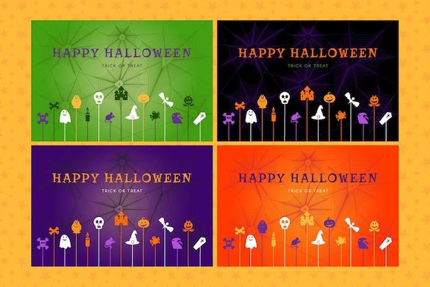 Set halloween achtergronden voor posters, wenskaarten, webbanners en uitnodigingen voor een feest. gelukkig halloween trick or treat-concept. sjabloon vectorillustratie