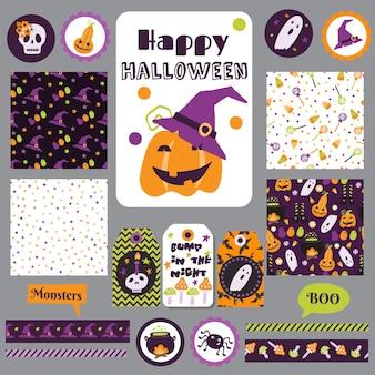 Set halloween afdrukbare kaarten banners stickers en notities