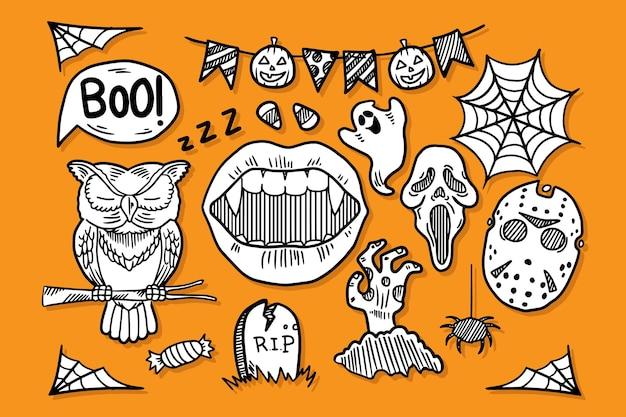 Set halloween doodle elementen