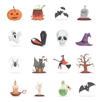 Set halloween-feestartikelen enge en lelijke pompoenpot