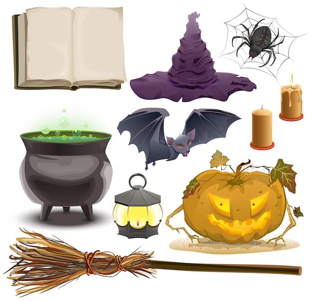 Set halloween-objecten accessoires pompoen, lantaarn, hoed, bezem, ketel, spin, vleermuis en oud boek