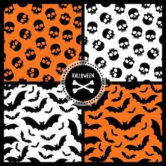 Set halloween-patronen met vleermuizen en schedels vector naadloze zwart-oranje en witte patronen