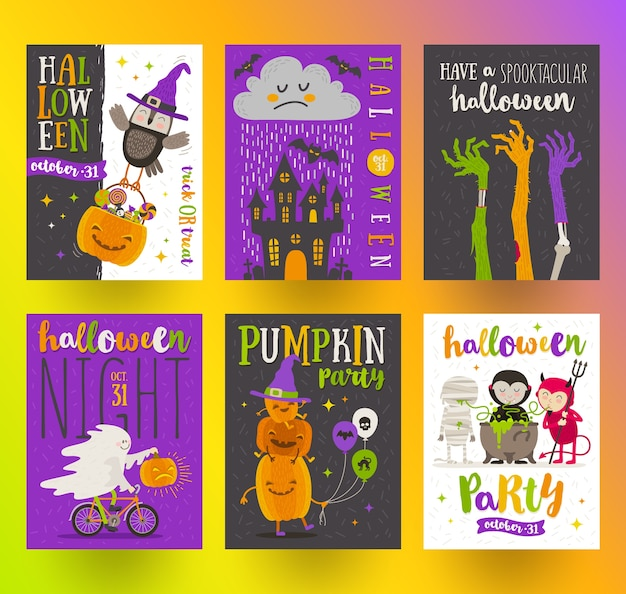 Set halloween posters of wenskaart met stripfiguren, vakantie teken, symbolen en typeontwerp. illustratie.