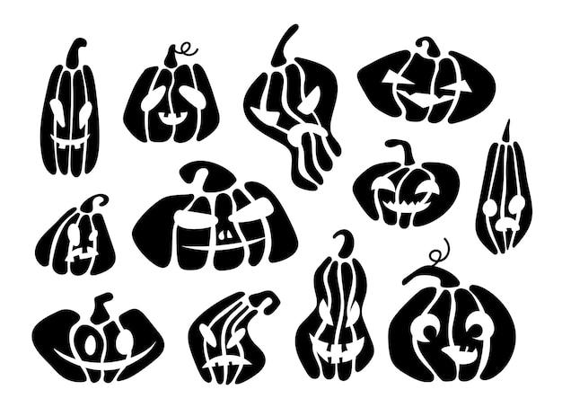 Set halloween pumpkin-gezichten in verschillende vormen zwarte collectie jack o lantern-personages