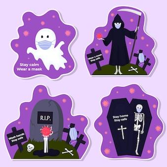 Set halloween stickers traditionele karakters en objecten voor uitnodigingen