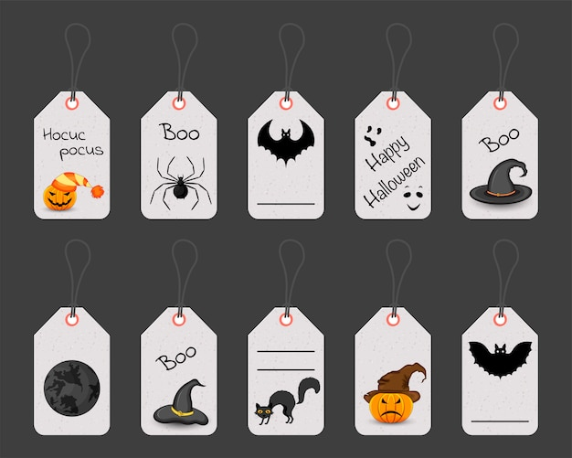 Set halloween-tags of -labels. cartoon stijl