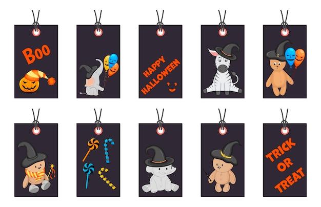 Set halloween-tags voor vakantieartikelen op een witte achtergrond. cartoon-stijl. vector.