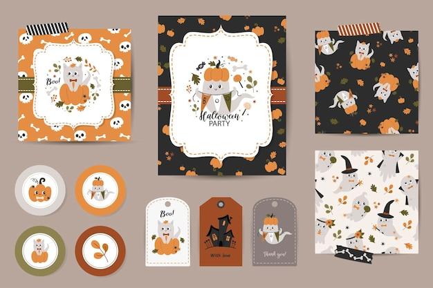Set halloween-uitnodigingen, bedanktkaarten, tags en naadloze patronen. sjablonen met schattige pompoenen