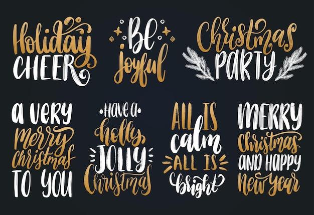 Set hand belettering kerst kalligrafische sjablonen.