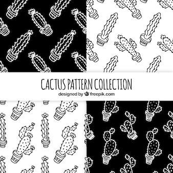 Set hand getekende cactus patronen
