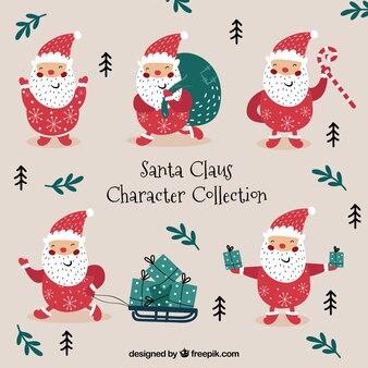 Set hand getekende kerstman in verschillende houdingen