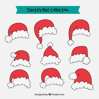 Set hand getekende kerstmuts hoeden