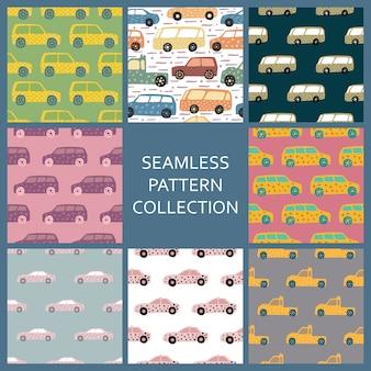 Set hand getrokken auto naadloze patroon. collectie auto's patroon in doodle stijl.