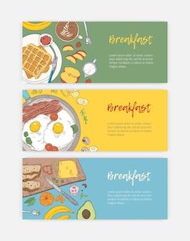 Set hand getrokken bannermalplaatjes met smakelijke, gezonde ontbijtmaaltijden en ochtendmaaltijd