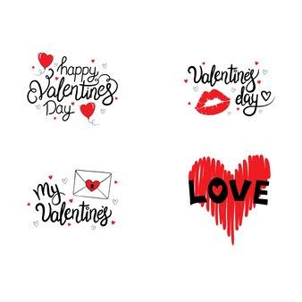 Set hand getrokken belettering. fijne valentijnsdag.
