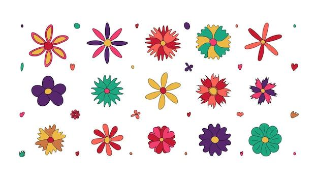 Set hand getrokken bloemen. doodle stijl. vector illustratie