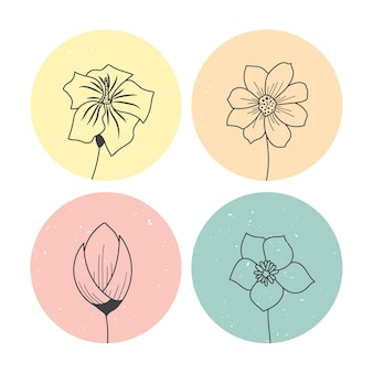Set hand getrokken bloemen illustratie