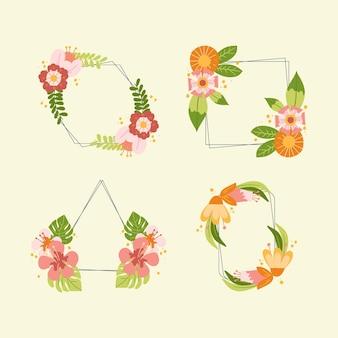 Set hand getrokken bloemenframes