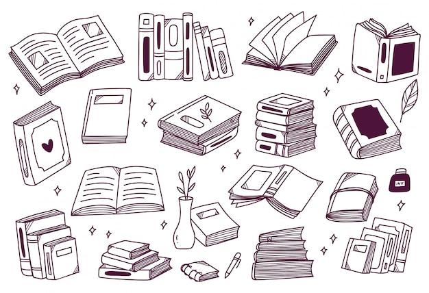 Set hand getrokken boeken