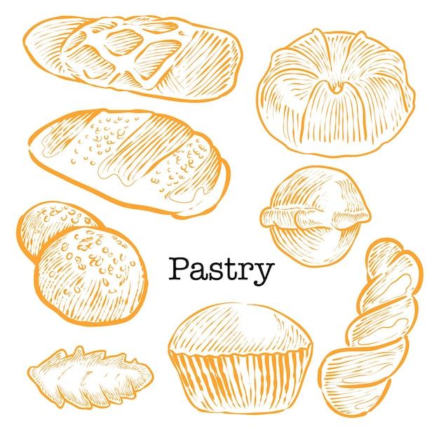 Set hand getrokken brood gebak