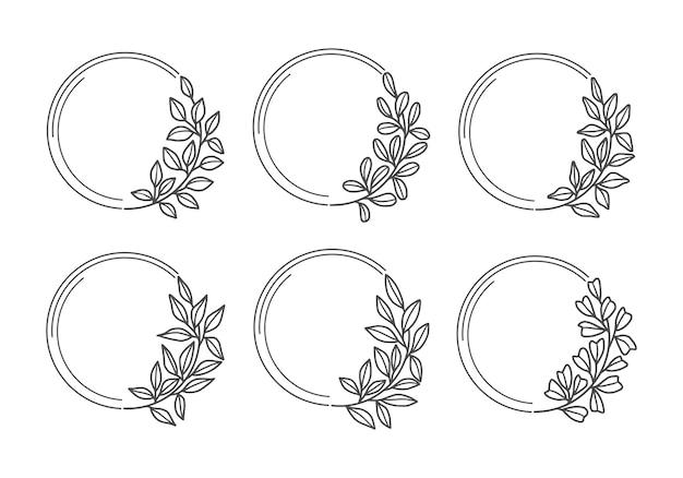 Set hand getrokken bruiloft bloemenkrans met blad en tak