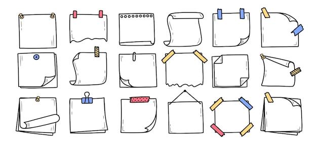 Set hand getrokken doodle kladblok voor berichten notities doodle stijl